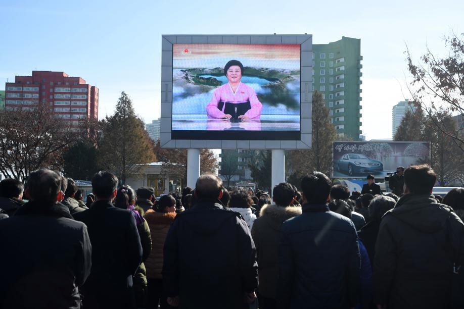 L'annuncio del lancio del missule a Pyongyang